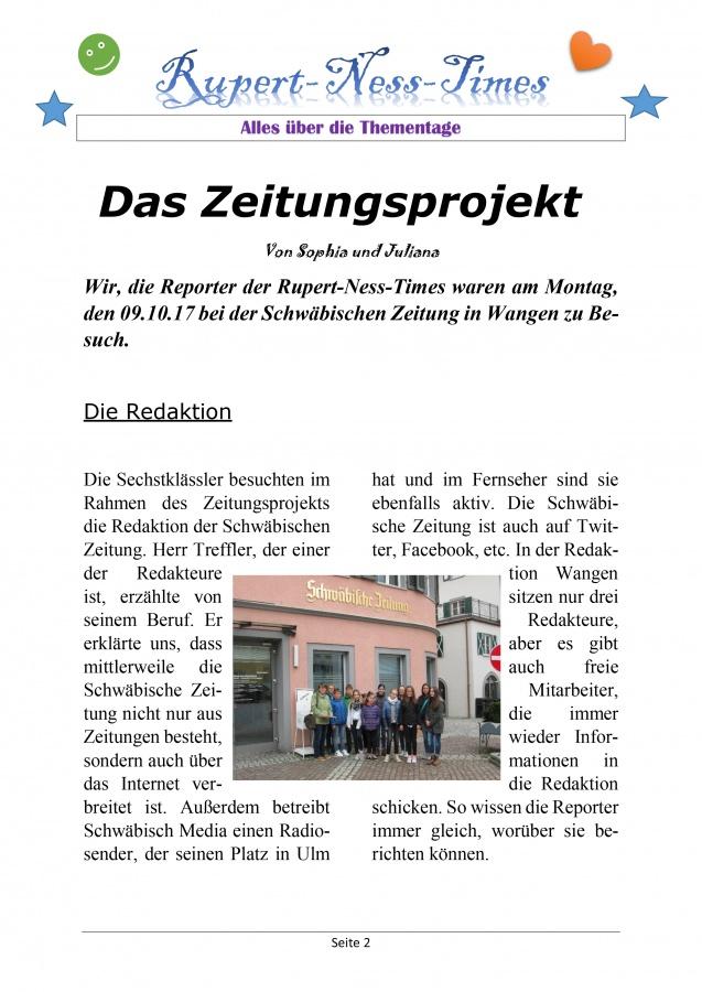 Cool-Tour-Zeitung berichtet über Thementage | Rupert-Neß-Gymnasium